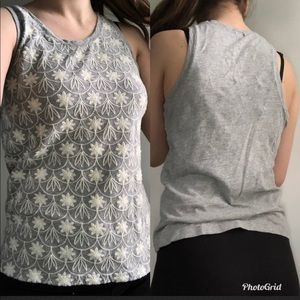 Grey J. Crew tank top with white embroidery size S